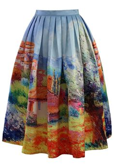 Turn Back Time Scenic Print Midi Skirt - Skirt - Bottoms - Retro, Indie and Unique Fashion  Obtained.