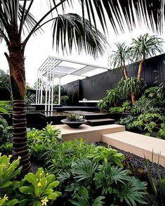 Canary Islands Spa Garden by Amphibian Designs - James Wong & David Cubero… Tropical Garden Design, Tropical Landscaping, Backyard Landscaping, Tropical Gardens, Luxury Landscaping, Tropical Plants, Outdoor Rooms, Outdoor Gardens, Outdoor Living