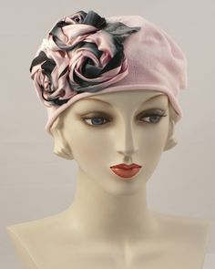 Cotton beret trimmed with 3 variegated silk ribbon roses & silk velvet leaves