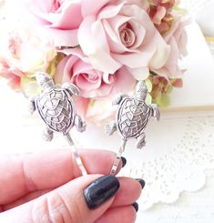 Ox Silver Turtle Hair Pins  Turtle Bobby Pins  by NestingPretty