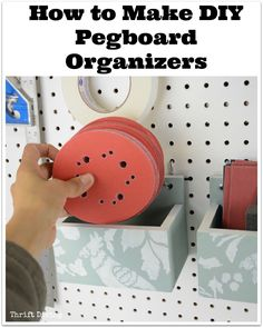 PROBLEM: Expensive wire baskets that come in a limited size and small objects fall through. SOLUTION: Make your own wooden DIY pegboard organizers in your own sizes and never have objects falling out! See the video tutorial and post! - How to Make DIY Peg Pegboard Organization, Workshop Organization, Craft Room Storage, Tool Storage, Garage Storage, Paper Storage, Pegboard Craft Room, Kitchen Pegboard, Lumber Storage
