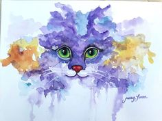 "Original Watercolor Painting Purple Cat 9""x12"""