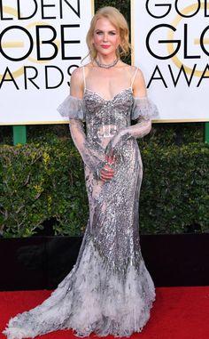 Nicole Kidman from 2017 Golden Globes Red Carpet  In Alexander McQueen