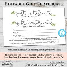 customized gift certificates business
