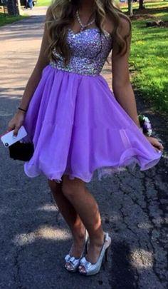 Pretty Short Lavender Sweetheart Beadings Prom Dress