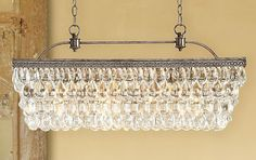 "crystal drop chandelier rectangle | ... Clarissa Glass Drop Extra-Long Rectangular Chandelier, 30"" in length"