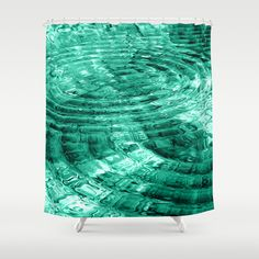Ripples Shower Curtain by Alice Gosling - $68.00 #shower #showercurtain #bathroom #bath #homedecor #water #ripples #blue #teal #green
