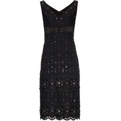 Marc Jacobs Broderie-anglaise embellished dress ($1,560) ❤ liked on Polyvore featuring dresses, black, sheer panel dress, sheer dress, eyelet dress, embellished dress and see through dress