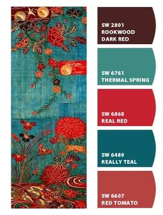 Paint colors from Chip It! by Sherwin-Williams. Love the real #teal for living room wall along with the red for accent colors and kitchen wall colors. LOVE THIS PALETTE