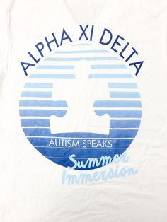 Custom Alpha Xi Delta and Autism Speaks shirt from Xi Boutique. Email custom@xiboutique.com to create chapter specific or customized philanthropy shirts!