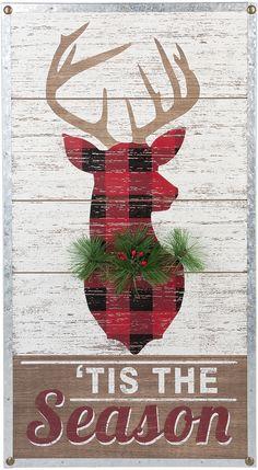 "Buffalo check plaid reindeer, ""'tis the season"" wall art. Aff"