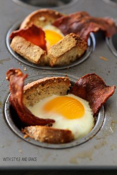 Put bread inside a muffin tin cup, add cooked turkey bacon, and crack an egg inside --> oven for 10 minutes = awesome breakfast!