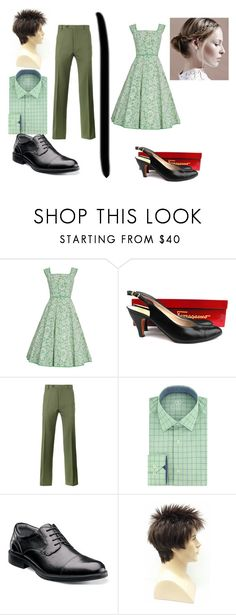 """70's Couple"" by deelaw22 ❤ liked on Polyvore featuring Salvatore Ferragamo, Valentino, Bugatchi and Florsheim"