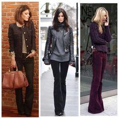 A calça #Flare, seja #jeans ou de #veludo, é perfeita para o #casualfriday mais friozinho. Usem com bota ou sapato fechado e sejam felizes , afinal hoje é SEXTA! #advoguettes #instafashion #lookdetrabalho #workoutfit #sextafeira #winteroutfit