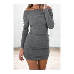 Long Sleeve Off the Shoulder Grey Dress ($17) ❤ liked on Polyvore featuring dresses, grey, grey dress, long sleeve off the shoulder dress, print dress, long sleeve dress and gray dress