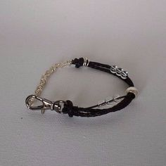 Leather Bracelet Braided with Handmade Double Wrapped Silver Links #Handmade #FashionSurfer