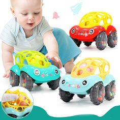 2pcs Baby Newborn Little Loud Jingle Rattle Rolling Ball Ring Bell Grasp Toy UW