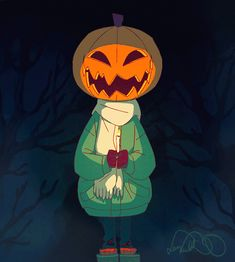 """thinkitsilly: """" Halloween has been over for some time already, but it's never too late for a cute pumpkin head! I've been drawing this from time to time when taking a break from other animations I'm working on. 24fps, some ~35 drawn frames in total...."""