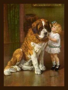 Vintage Card Little Girl St Bernard Dog