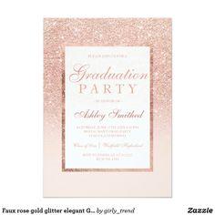 Faux rose gold glitter elegant Graduation party