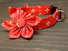 Female dog collar, very affordable too! Red Floral Adjustable Dog Collar on Etsy, $10.00