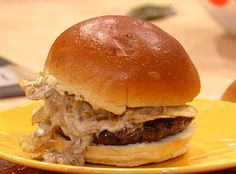 French Onion Dip Bugers! This is my favorite burger. I use and extra splash or two into the chopped sirloin. The burger is great without the onion mixture and chips if you re looking to save calories.