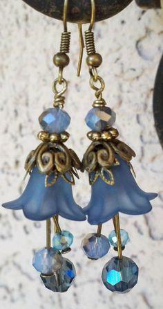 ELEGANT FLOWER EARRING. Romantic Flower Earring. Slate Blue Earring. Handmade Earring  etsy.com/shop/secretstashboutique