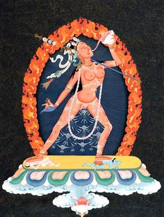 Vajrayogini in Tibetan called Dorje Naljorma symbolizes the female tantric aspect of the Buddha embodying the union of bliss and emptiness. The fire surrounding Vajrayogini is a manifestation of the five wisdoms of Vajrayogini and symbolizes bodhichitta.
