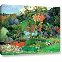 ArtWall Paul Gauguin Landscape at Pont Aven Gallery-wrapped Canvas, Size: 36 x 48, Orange