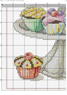 Zz Cross Stitch Kitchen, Cross Stitch Kits, Cross Stitch Charts, Cross Stitch Designs, Cross Stitch Patterns, Cross Stitching, Cross Stitch Embroidery, Machine Embroidery, Cupcake Cross Stitch