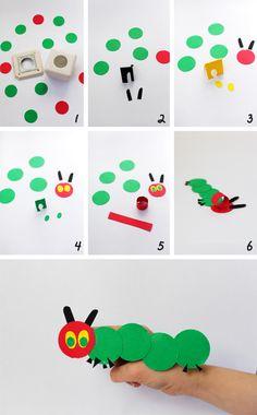 marionetas de la oruga hambrienta / easy very hungry caterpillar finger puppets