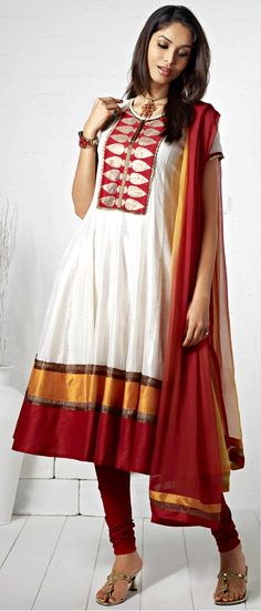 Off White and Maroon chanderi SilkFlair Style Readymade Churidar Kameez with Dupatta | $121.42