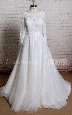 US$143.33-Tulle Lace A Line Wedding Dress With Sleeves and Keyhole Back. http://www.doriswedding.com/tulle-a-line-long-sleeve-dress-with-lace-bodice-and-keyhole-back-pET_711361.html. Explore our best wedding dresses & gowns, evening gowns and formal dress collection Doris Wedding 2016 dress style collection. Free custom made service of any dress design & Free Shipping! #eveninggowns #promdress #formaldress #DorisWedding.com