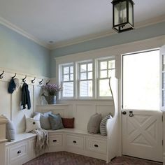 Back entry/mudroom.  Love the drawers instead of cubbies - perfect divider by the door!