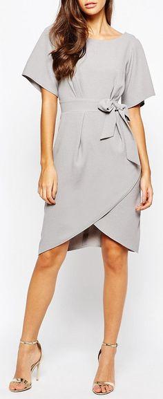 Grey Wrap Kimono Dress ❤︎