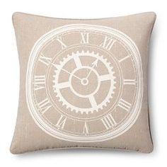 Clock Throw Pillow - Linen (18x18) - The Industrial Shop™