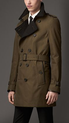 Burberry London Wool Cashmere Detail Gabardine Trench Coat