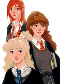 Luna, Hermione & Ginny by Cheslava Galunchak Fanart Harry Potter, Harry Potter Girl, Harry Potter Marauders, Harry Potter Characters, Harry Potter Fandom, Ron And Hermione, Ginny Weasley, Hermione Granger, Welcome To Hogwarts