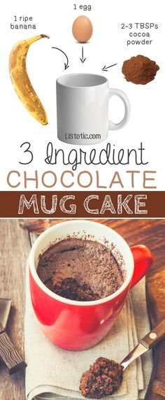 3 Ingredient Flourless Chocolate Mug Cake -- bakes in 1 minute in the microwave! | 6 Ridiculously Healthy Three Ingredient Treats