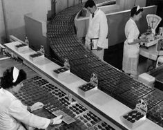 Freddo Frog production line at MacRobertson's Chocolates, Fitzroy-Melbourne, Australia 1959.  Photograph by Wolfgang Sievers.