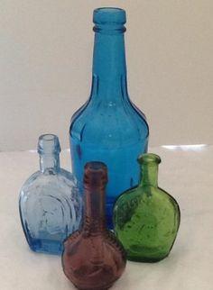 Vintage Miniture Mini Colored Glass Bottle Lot of 4 | eBay