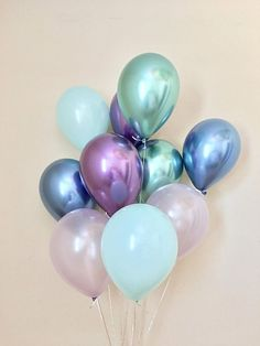 Mermaid Balloons~Under the Sea Party~Chrome Balloon~Blue Purple Mint~Mermaid Birthday~Mermaid Party Decor~Baby Shower~First Birthday~Wedding #catchmyparty #artyideas #partysupplies #mermaidbirthdayparty #mermaidpartydecorations #mermaidballoons #mermaidpartydecor #balloons