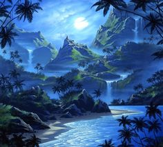 ✫Blue Island in Moonlight✫ - places, paintings, beaches, paradise, island, moons, love four seasons, sea, attractions in dreams, blue, sky, colors, drawings, creative pre-made, stunning, mountains, nature, trees, waterfall, landscapes, cool, beautiful, moonlight, clouds