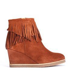 #zapatos #botín #plataforma #flecos de la nueva colección #AW de #pedromiralles en color #marrón #shoponline