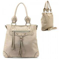 Buy New: $41.99: Balenciaga Style Spikes / Tassels Purse and Bag / Handbag / Grey / [No Longer available] #GraffitiLensHandBag