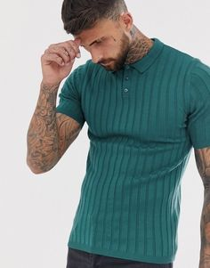 Buy ASOS DESIGN knitted rib polo t-shirt in blue at ASOS. With free delivery and return options (Ts&Cs apply), online shopping has never been so easy. Get the latest trends with ASOS now. Blue Fashion, Mens Fashion, Polo T Shirts, Striped Knit, Fashion Online, Latest Trends, Asos, Casual, Mens Tops