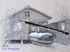 "#Cabanes #Bateau #Yverdon #Spiro_Philippidis #Yverdon_les_Bains #Suisse #Illustrations #Dessins #Croquis #Moleskine #Carnets #LesIris ""PortdesIris #VD Moleskine, Illustrations, House Styles, Cabins, Switzerland, Sketch, Drawings, Photography, Illustration"