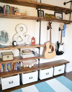 15 Fabulous DIY Plumbing Pipe Projects - Metal plumbing pipes can be used to build many amazing things, from a clothes rack to a canopy bed! Industrial Bedroom Furniture, Plumbing Pipe Furniture, Diy Furniture, Plumbing Pipe Shelves, Furniture Vintage, Furniture Design, Furniture Stores, Furniture Projects, Rustic Furniture