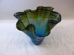 shopgoodwill.com: Signed Dan Bergsma Art Glass Large Vase Blue/Gold