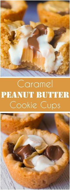 Caramel Peanut Butter Cookie Cups are an easy peanut butter dessert recipe. These cookie cups are filled with caramels, mini peanut butter cups, white chocolate peanut butter cups and roasted peanuts.